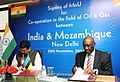 Dharmendra Pradhan and the Minister of Foreign Affairs, Mozambique, Mr. Oldemiro Julio Marques Baloi signing an MoU between India and Mozambique for the Co-operation in the field of Oil and Gas, , in New Delhi.jpg