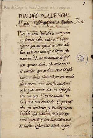Juan de Valdés - Cover page of Diálogo de la lengua. Manuscript in Biblioteca Nacional de España.