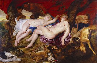 Diana and her Nymphs Spied upon by Satyrs