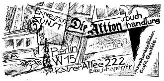 Die Aktion - Advert for Aktions-Buch-und-Kunsthandlung which appeared in the journal in 1919