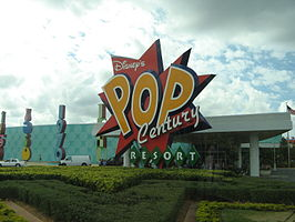De entree van Disney's Pop Century Resort