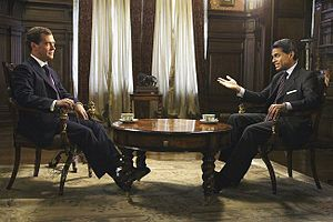 English: Dmitry Medvedev is interviewed by Far...