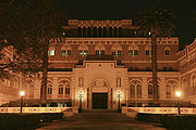 Edward L. Doheny Jr. Memorial Library at night