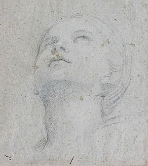 "Saint Cecilia - Domenichino, A head study for the fresco of ""Saint Cecilia playing the Organ"" at the abbey of Grottaferrata, 1608–10"