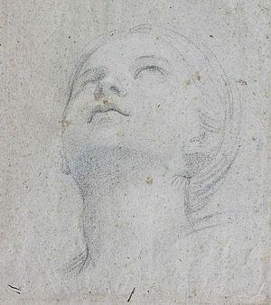 "Saint Cecilia - Domenichino, A head study for the fresco of ""Saint Cecilia playing the Organ"" at the abbey of Grottaferrata, 1608–10"