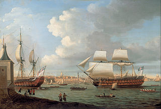 Foudroyant and Pégase entering Portsmouth Harbour, 1782