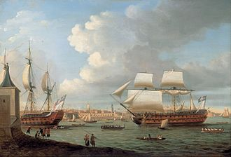 French ship Pégase (1781) - Image: Dominic Serres Foudroyant and Pégase entering Portsmouth Harbour, 1782 Google Art Project