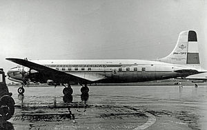 Douglas DC-6 - Original length DC-6 of KLM at Manchester Airport in 1953