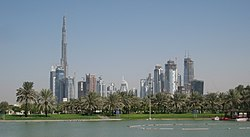 Skyline of Business Bay, Dubai as seen from Safa Park.