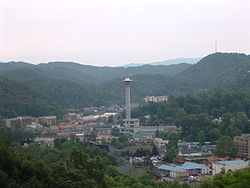 Gatlinburg is a popular tourist destination bordering the Great Smoky Mountains National Park.