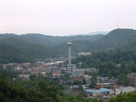 Gatlinburg is a popular tourist destination bordering the Great Smoky Mountains Downtown Gatlinburg, Tennessee.JPG