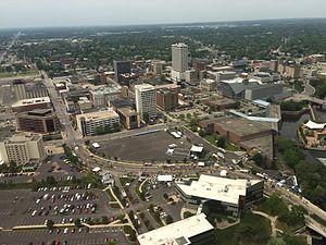 South Bend, Indiana - An Aerial photo of Downtown South Bend