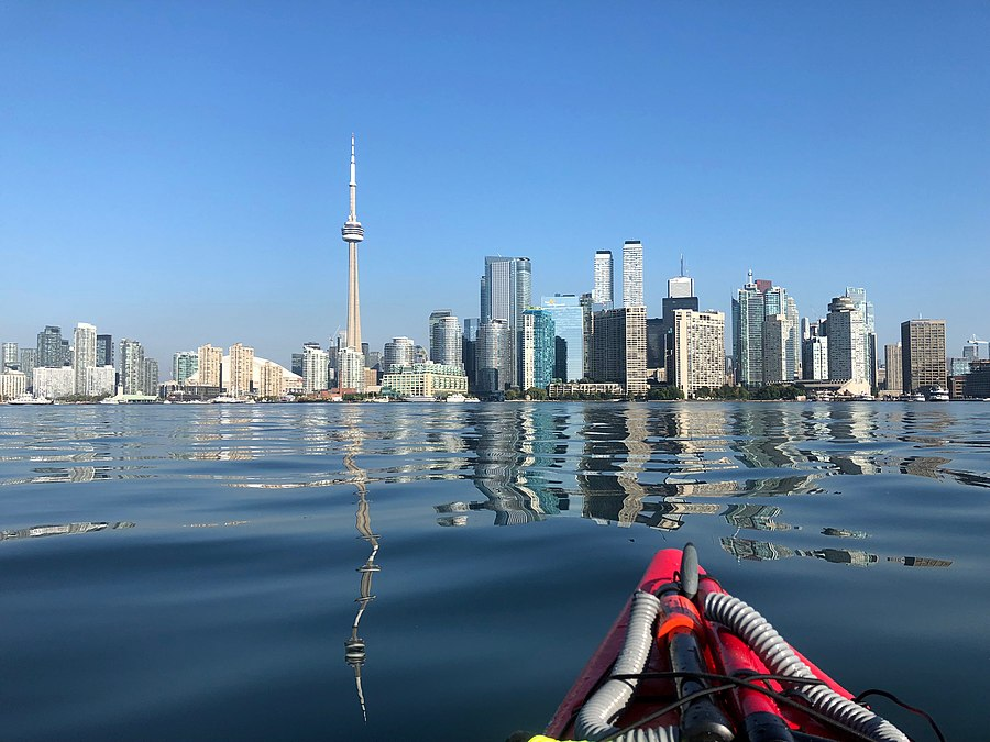 Downtown Toronto in September 2018 (Early Sunday Morning, frontal view from a kayak).jpg