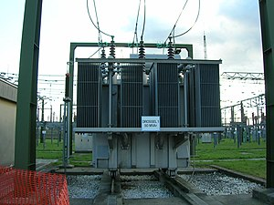 Inductor - Large 50 MVAR three-phase iron-core loading inductor at an Austrian utility substation