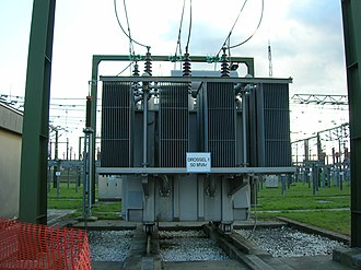 Inductor - Large 50 Mvar three-phase iron-core loading inductor at a utility substation