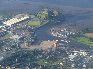 English: Dumbarton Rock The River Leven in the...