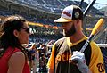 ESPN's Jessica Mendoza chats with Bryce Harper on Gatorade All-Star Workout Day. (28629247456).jpg