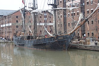 Earl of Pembroke (tall ship) - Image: Earl of Pembroke (tall ship) in Gloucester Docks (renamed as The Wonder) for filing of Alice in Wonderland Through the Looking Glass 08