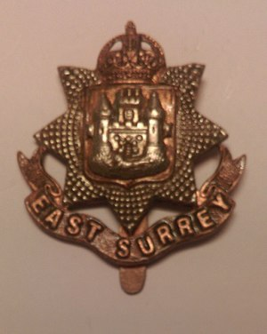 13th (Service) Battalion (Wandsworth), East Surrey Regiment - Cap Badge of The East Surrey Regiment