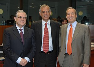 Lucas Papademos - Lucas Papademos as Vice President of the European Central Bank, Michalis Sarris, Finance Minister of Cyprus and George Alogoskoufis, Finance Minister of Greece during a 2007 ECOFIN at Brussels.