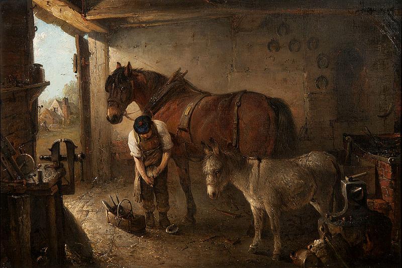 File:Edward Robert Smythe A farrier shoeing a plough horse.jpg