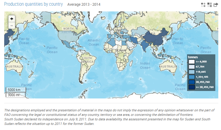Eggplant production map FAOSTAT 2014