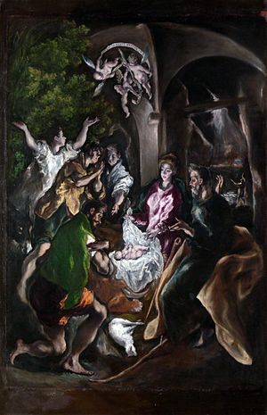 Adoration of the Shepherds - The Adoration of the Shepherds (circa 1605-10) by El Greco.