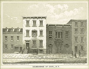 Eldridge Street - Eldridge Street Jail, second building from left.  The fire station is to its right.