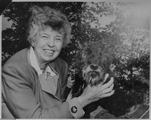 Eleanor Roosevelt - Roosevelt with her dog Fala in 1951