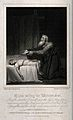 Elijah prays to resuscitate the widow's son. Line engraving Wellcome V0034317.jpg