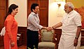 Eminent sports person, Shri Sachin Tendulkar calls on the Prime Minister, Shri Narendra Modi, in New Delhi on October 16, 2014. Smt. Anjali Tendulkar is also seen.jpg