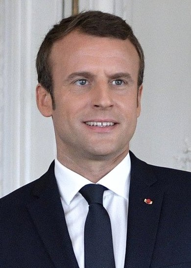 Emmanuel Macron during his meeting with Vladimir Putin, June 2017