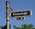 Emmastraße Straßenschild an der Ecke zur Oberbilker Allee, Düsseldorf-Oberbilk.jpg