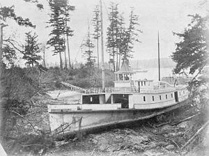 Esquimalt - At Esquimalt, B.C., the sternwheel steamboat Lady Alexandra photographed sometime after 1874