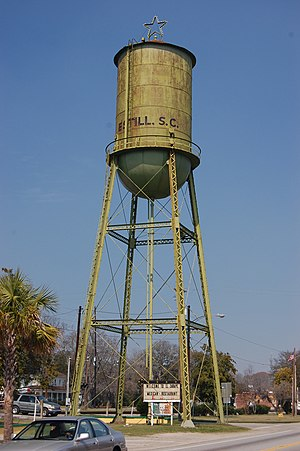 Estill, South Carolina - Photo of water tower in downtown Estill, SC