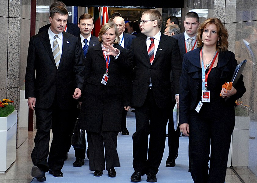 The Estonian delegation, led by Prime Minister Andrus Ansip and Foreign Minister Urmas Paet, arrives at the European Council meeting. Brussels