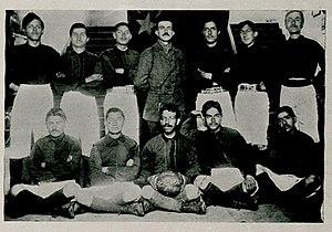Ethem Nejat - Ethem Nejat and school football team players.