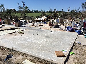 Tornado outbreak and floods of April 28 – May 1, 2017 - EF4 damage to a two-story brick house southwest of Canton, TX.