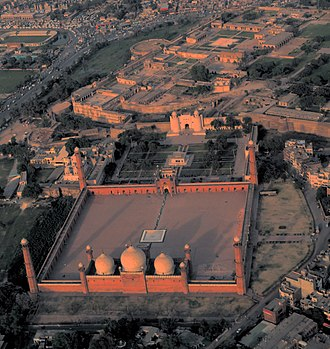 Badshahi Mosque - Badshahi Mosque stands across the Hazuri Bagh from Lahore Fort.