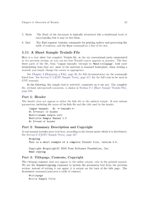 An example of printed Texinfo output; page 25 of the official GNU Texinfo manual.