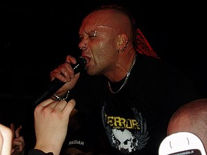 The Exploited - The Exploited's lead vocalist Wattie Buchan performing.