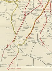 A coloured map shows proposed new railway routes superimposed in red on a map of existing railway lines