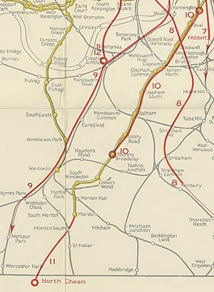 Morden tube station - Image: Extract from Report to the Minister of War Transport 21 January 1946 Map 2 Routes 10 and 11