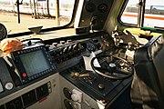 Der Führerstand einer Lokomotive der Baureihe218