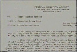 typewritten letter on Food and Drug Administration headed paper