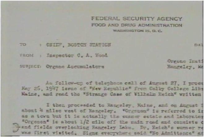 FDA letter about Wilhelm Reich, 1947