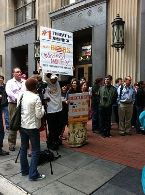 Sunlight Foundation - Demonstrators from the Sunlight Foundation outside Federal Election Commission offices as they discuss the application of Colbert Super PAC