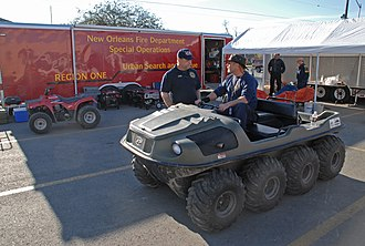 Amphibious ATV - Argo 8x8 Amphibious ATV as used in 2006, to aid in search for human remains in New Orleans, after Hurricane Katrina.