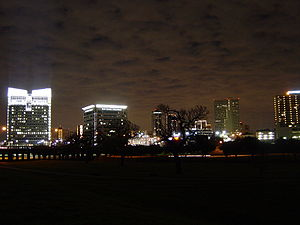 Skyline of Fort Worth at night as shot from th...