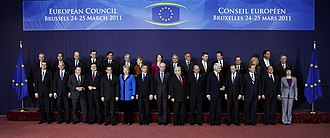 Member state of the European Union - A 2011 'family photo' of the European Council, which comprises the heads of state or government of the member states, along with President of the European Council and the President of the European Commission
